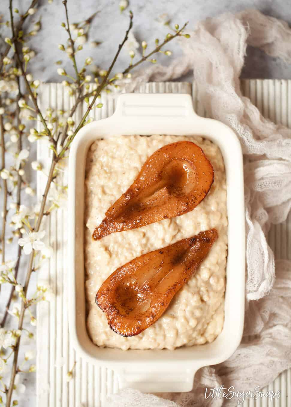 creamy rice dessert with spiced pears