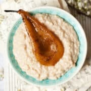 vegan rice pudding with spiced pear