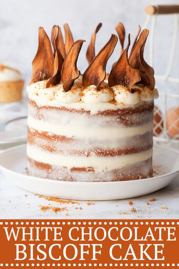 Naked Biscoff Cake with pear wafers