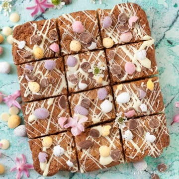 Brown Butter Blondies with Coconut and mini eggs