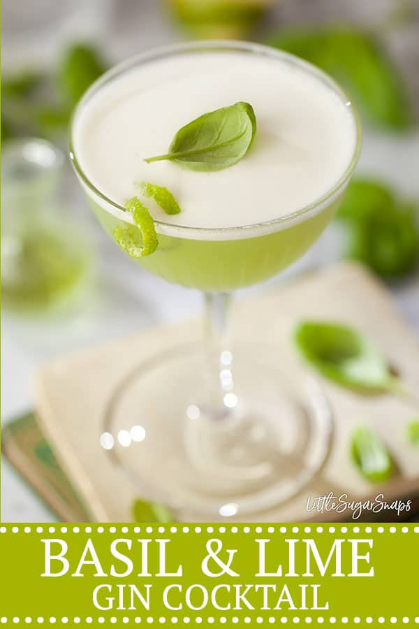 BASIL & LIME GIN COCKTAIL - pinterest image