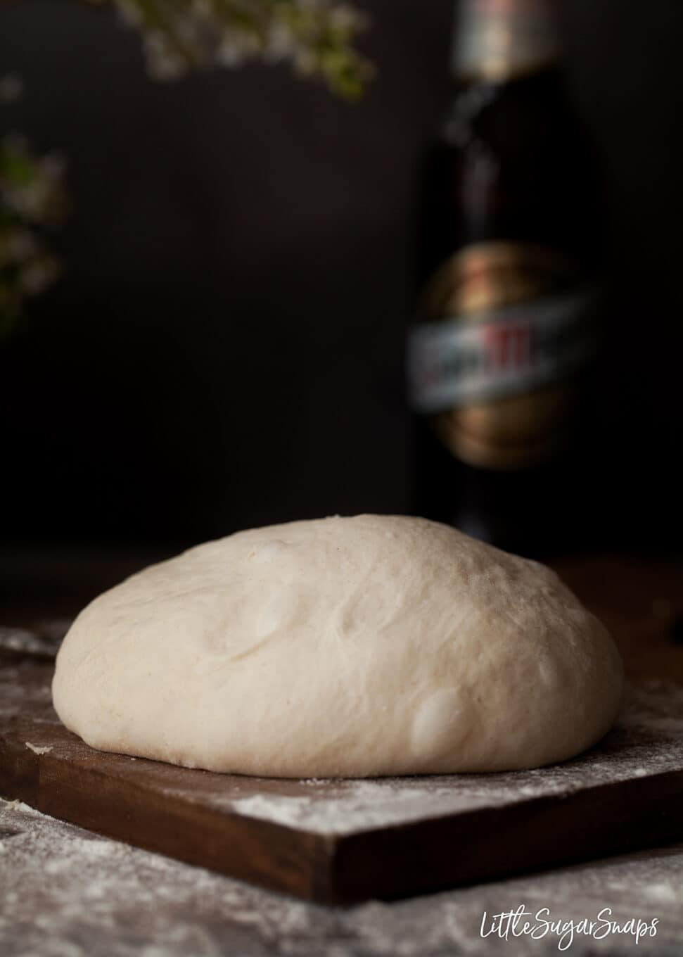 Beer pizza dough ready to cut and roll out.