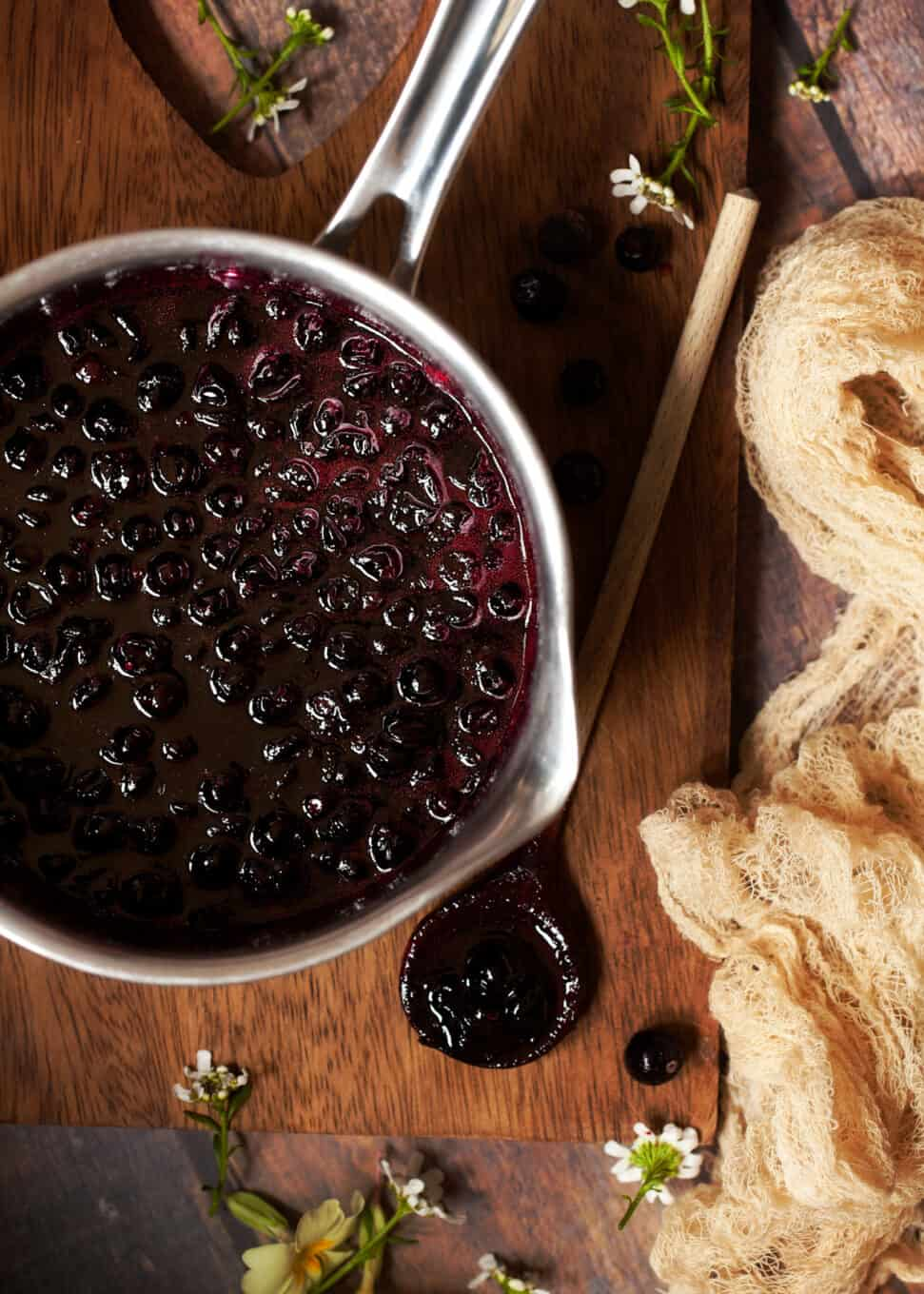 blackcurrant compote freshly cooked in a pan