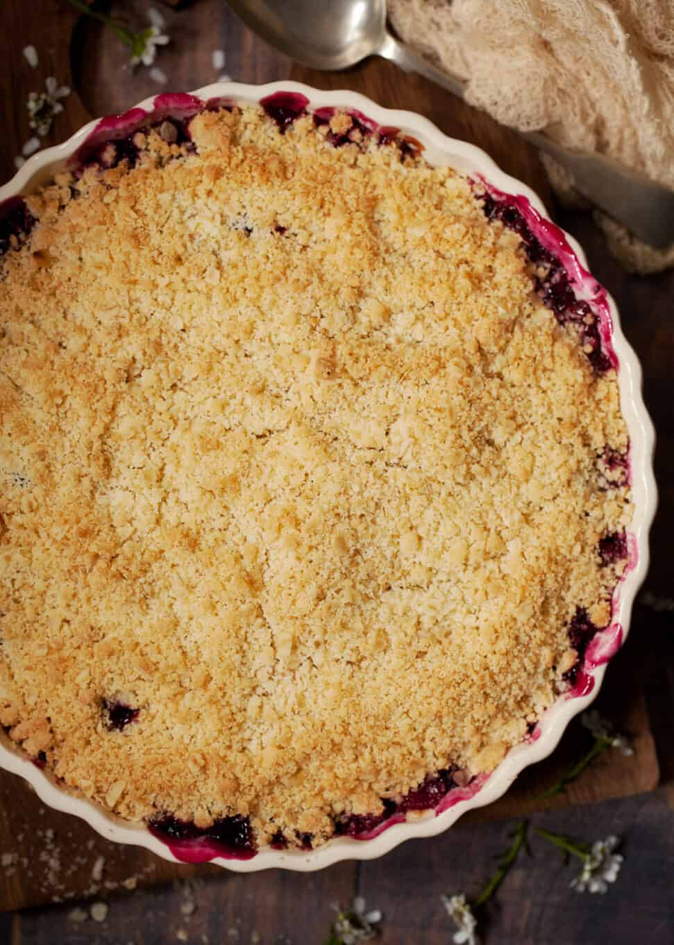 freshly baked apple and blackcurrant crumble