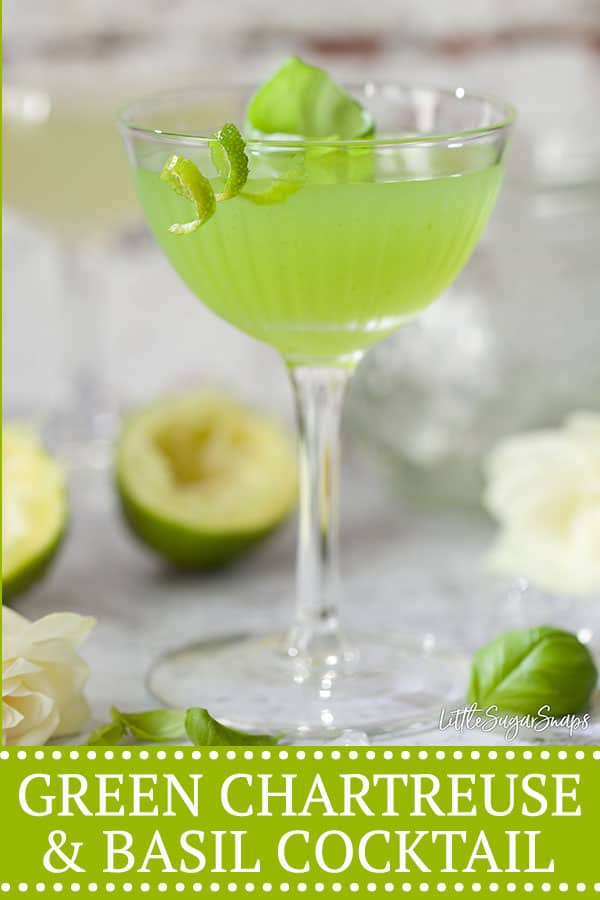 GREEN CHARTREUSE & BASIL COCKTAIL PINterest image