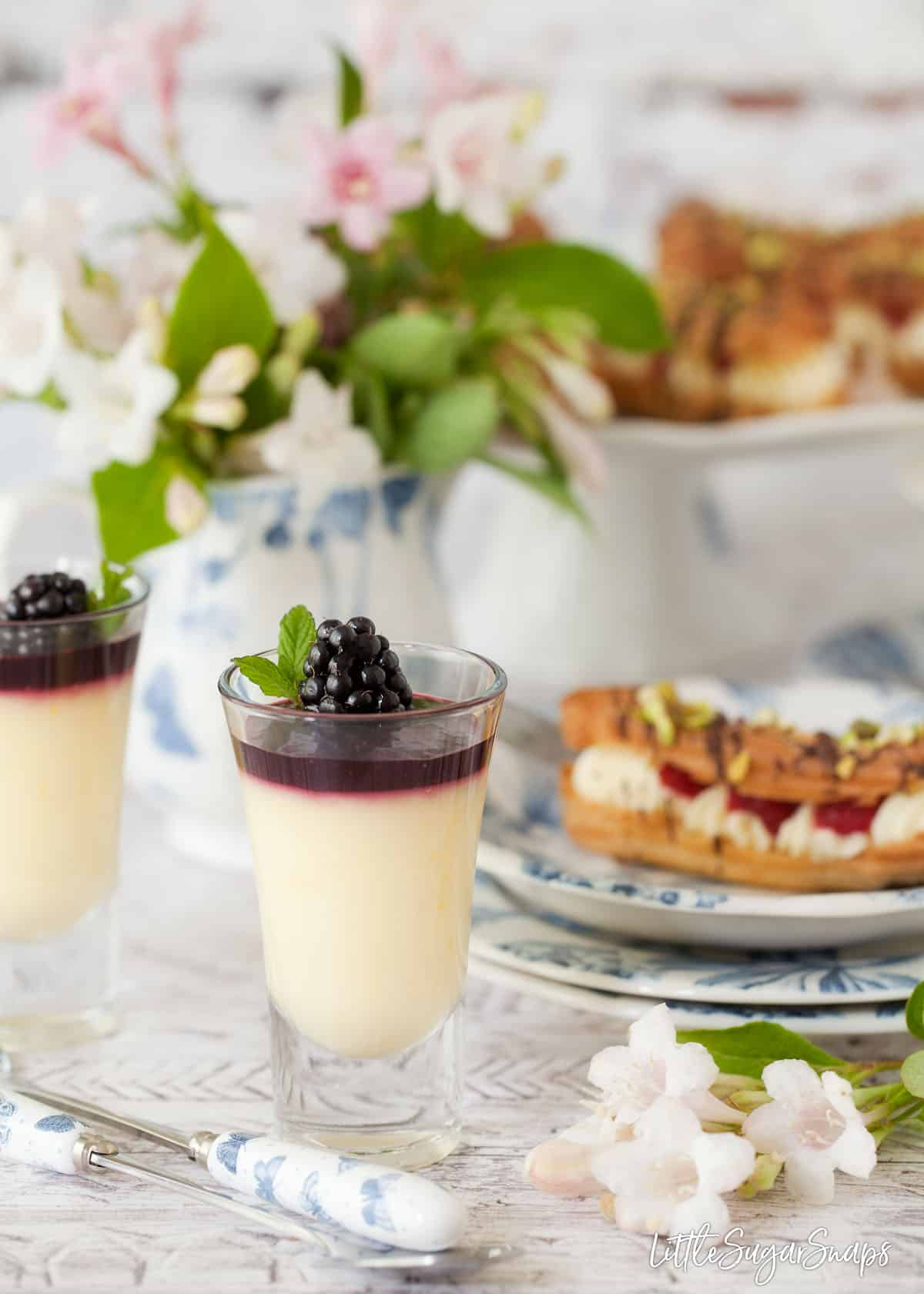 Several Afternoon Tea recipes including: Creamy lemon posset dessert topped with blackberry compote