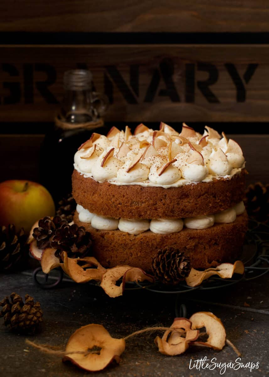 Cinnamon Apple Cake with Salted Maple Buttercream - Littlesugarsnaps