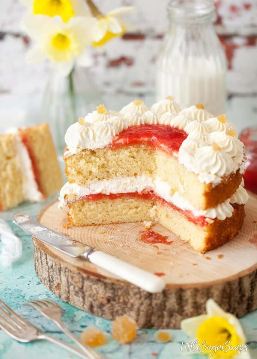 Vanilla sponge cake filled with strawberry jam and vanilla whipped cream.