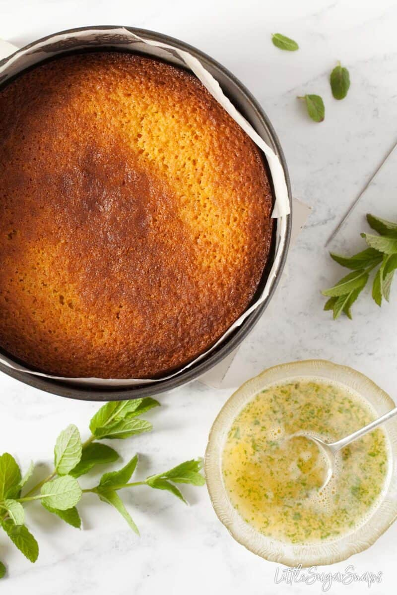 Orange semolina cake fresh from the oven