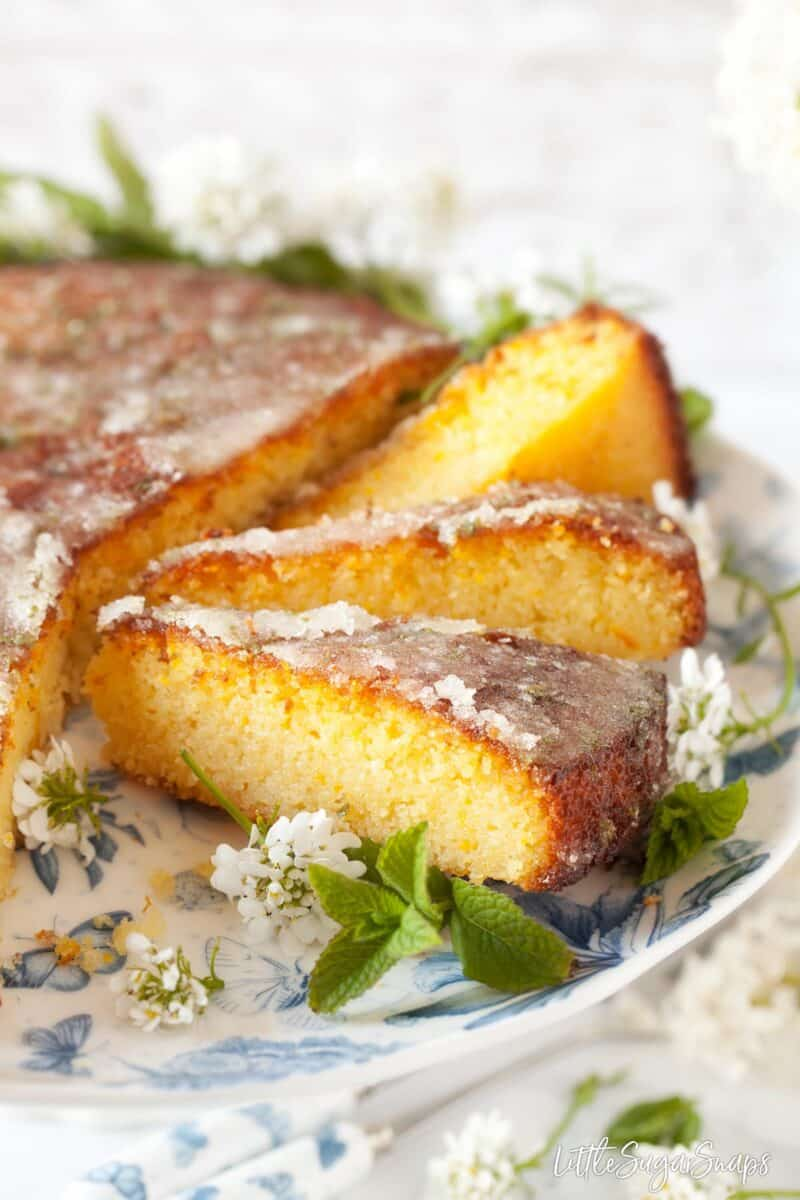 Close up of slices of flourless semolina cake recipe
