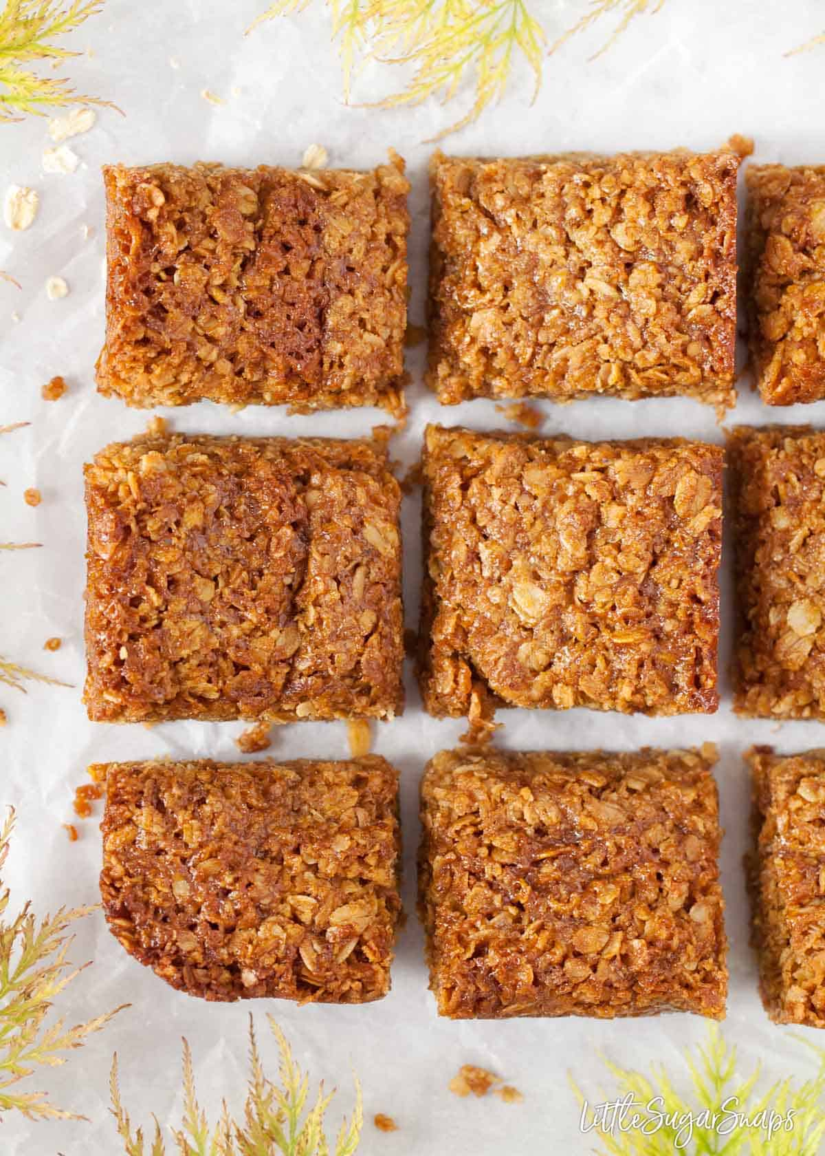 Squares of flapjack on a worktop