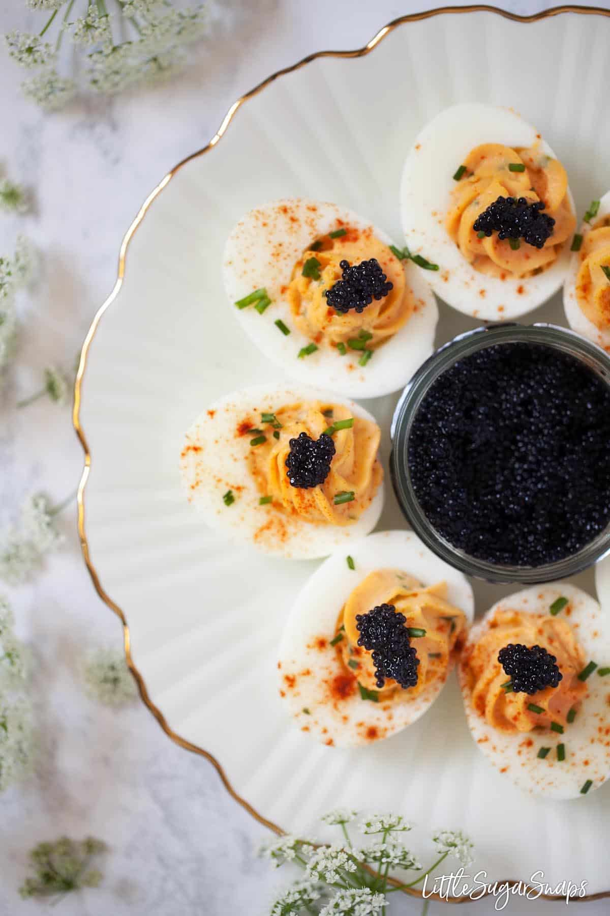 Close up on devilled eggs with caviar on a gold rimmed plate