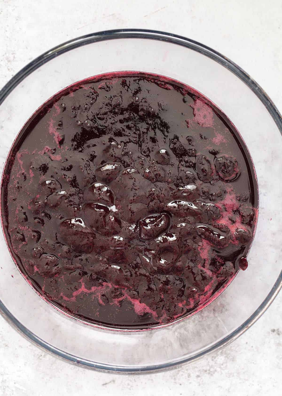 Blackcurrant syrup after being strained