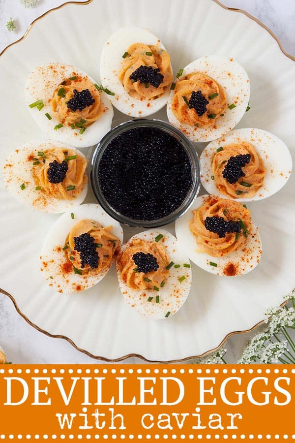 Caviar Devilled Eggs - pinterest image