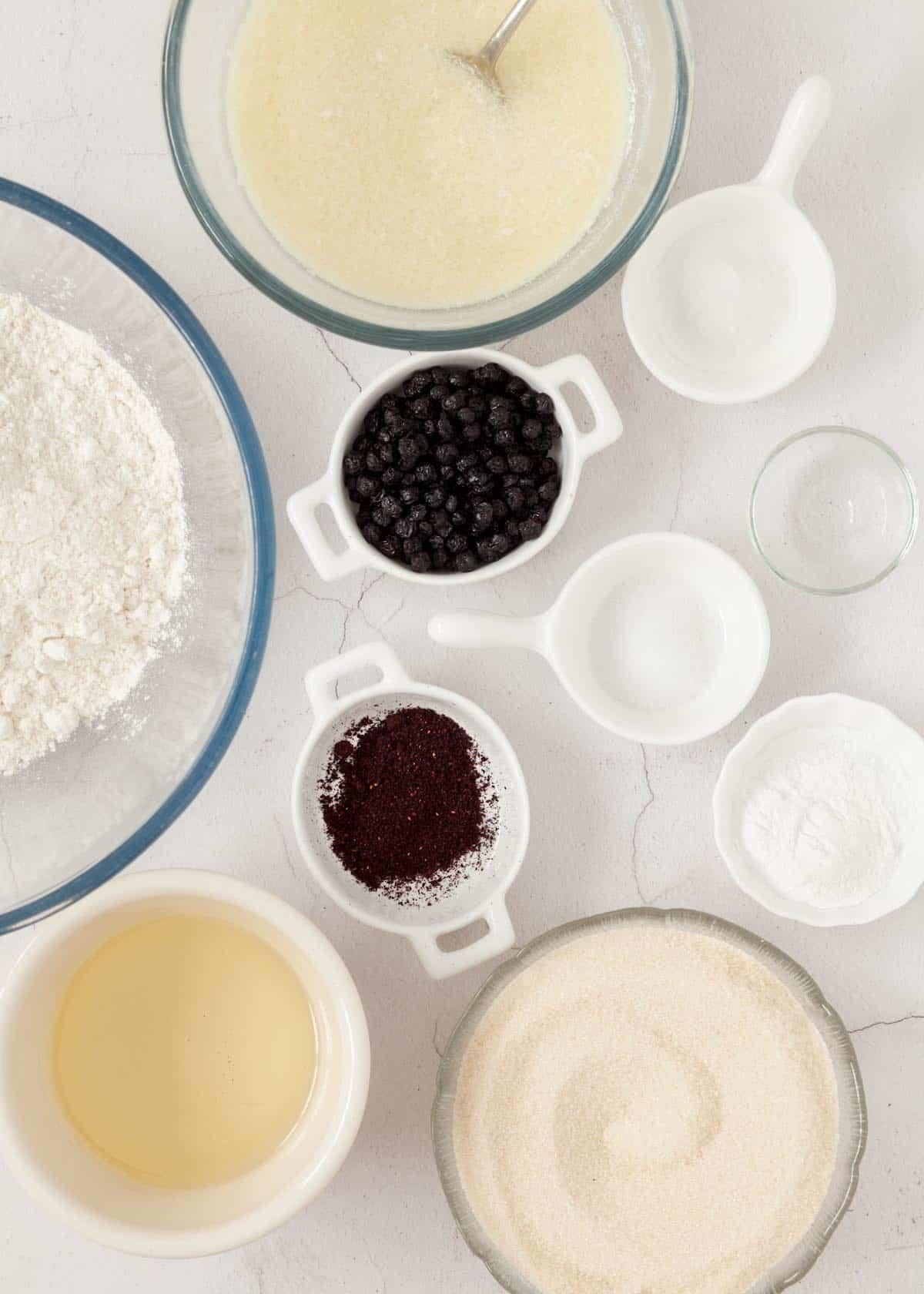 Ingredients - sugar, flour, dried blueberries, bilberry powder, baking powder, vegan buttermilk and oil