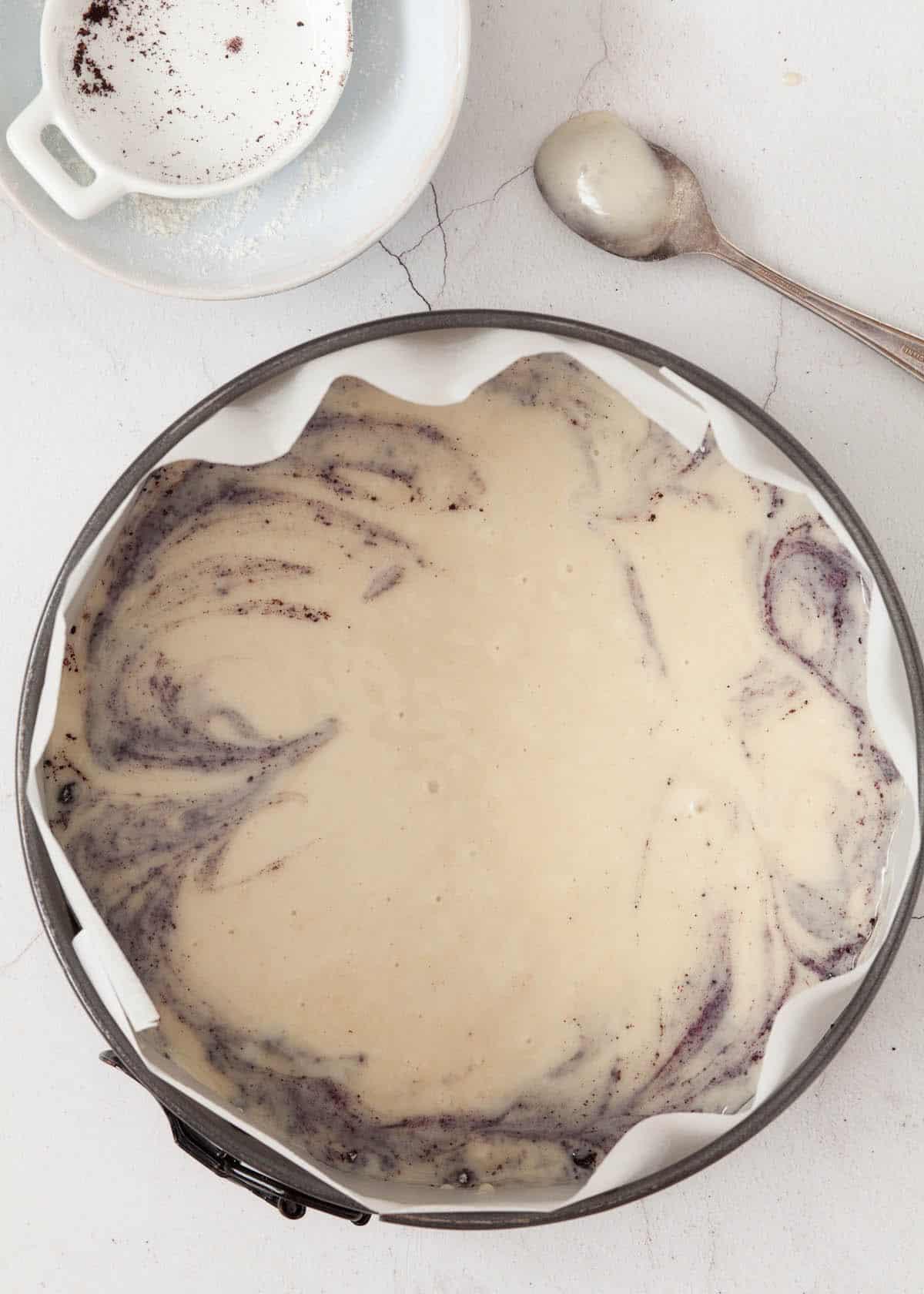 Process shot: vegan cake ready to bake