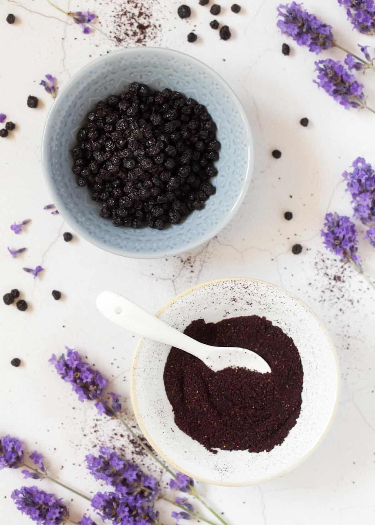 Bilberry fruit powder and dried blueberries in small bowls