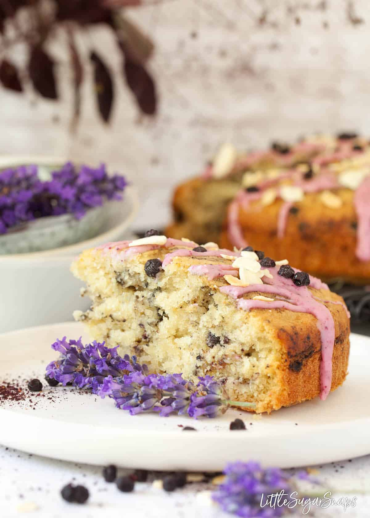 A slice of vegan blueberry cake on a plate with fresh lavender