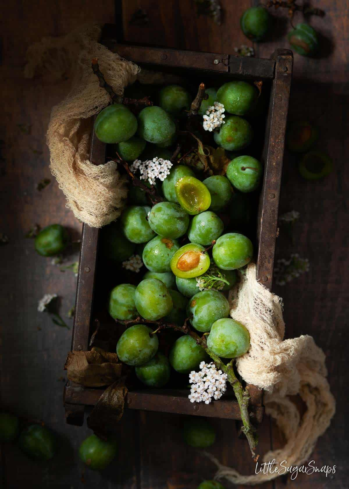 A wooden box holding lots of greengages.