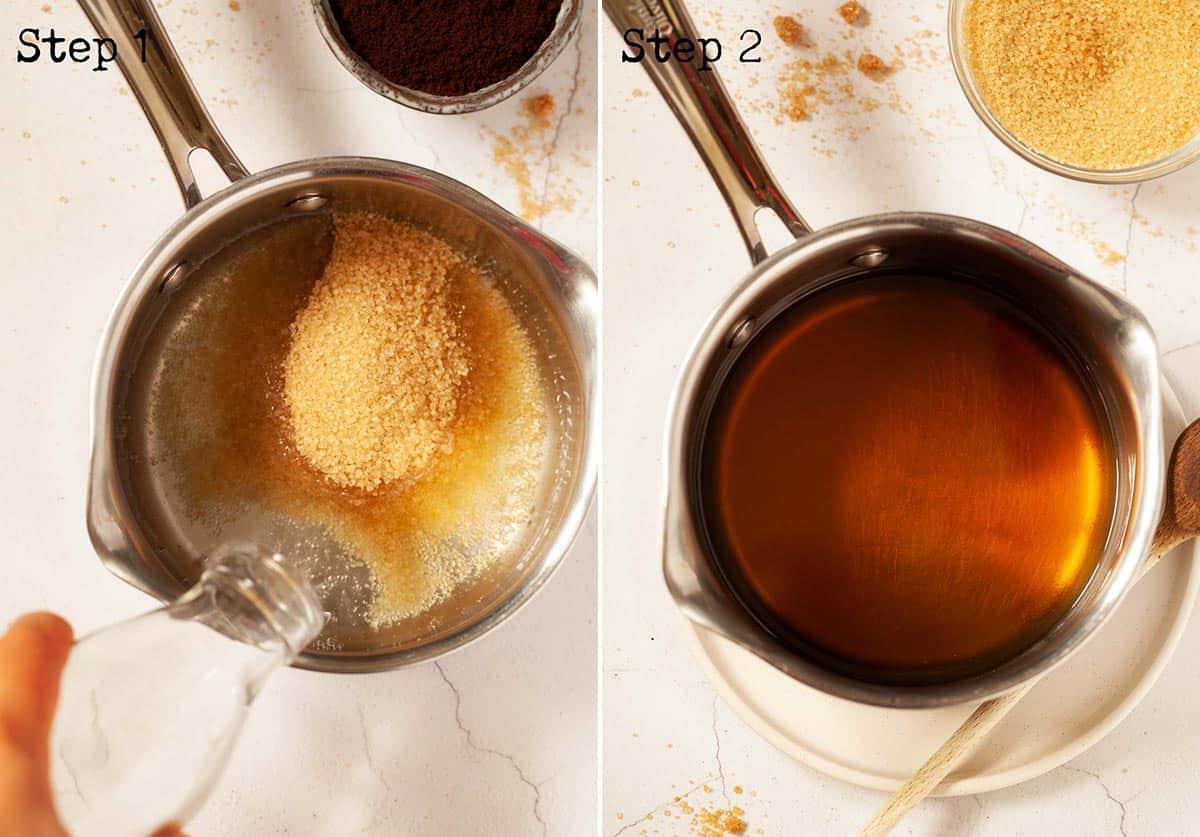 Making a demerara syrup in a saucepan