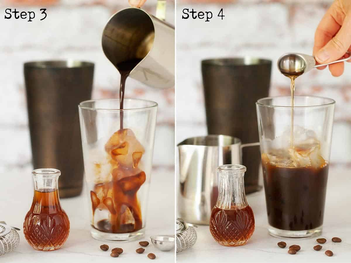 Pouring coffee and syrup into a cocktail shaker