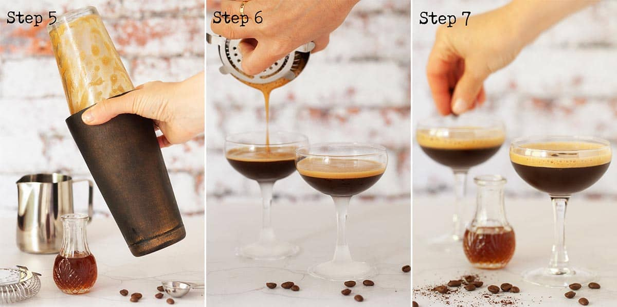 Collage of step by step images for making a caffe shakerato