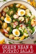 green bean and potato salad image with text overlay