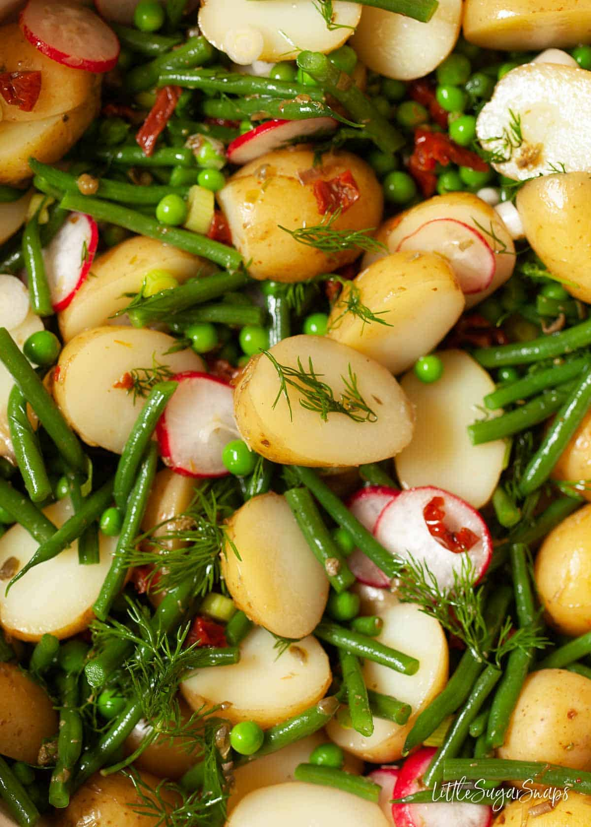 Close up of mixed vegetable potato salad with radish and sundried tomatoes