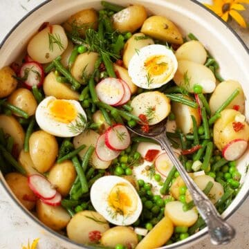 Green bean and potato salad in a pot