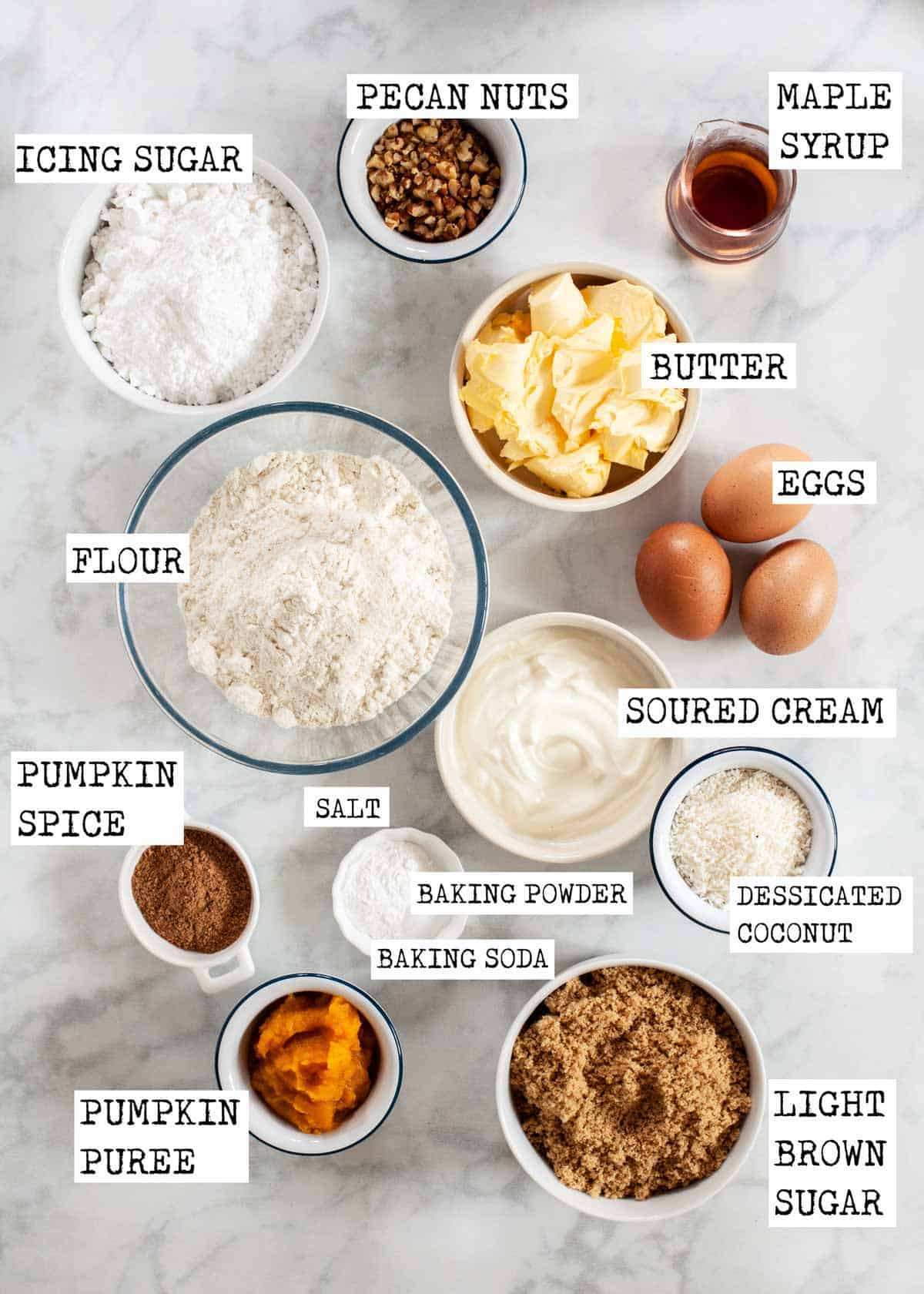 Ingredients for pumpkin cake labelled with text overlay