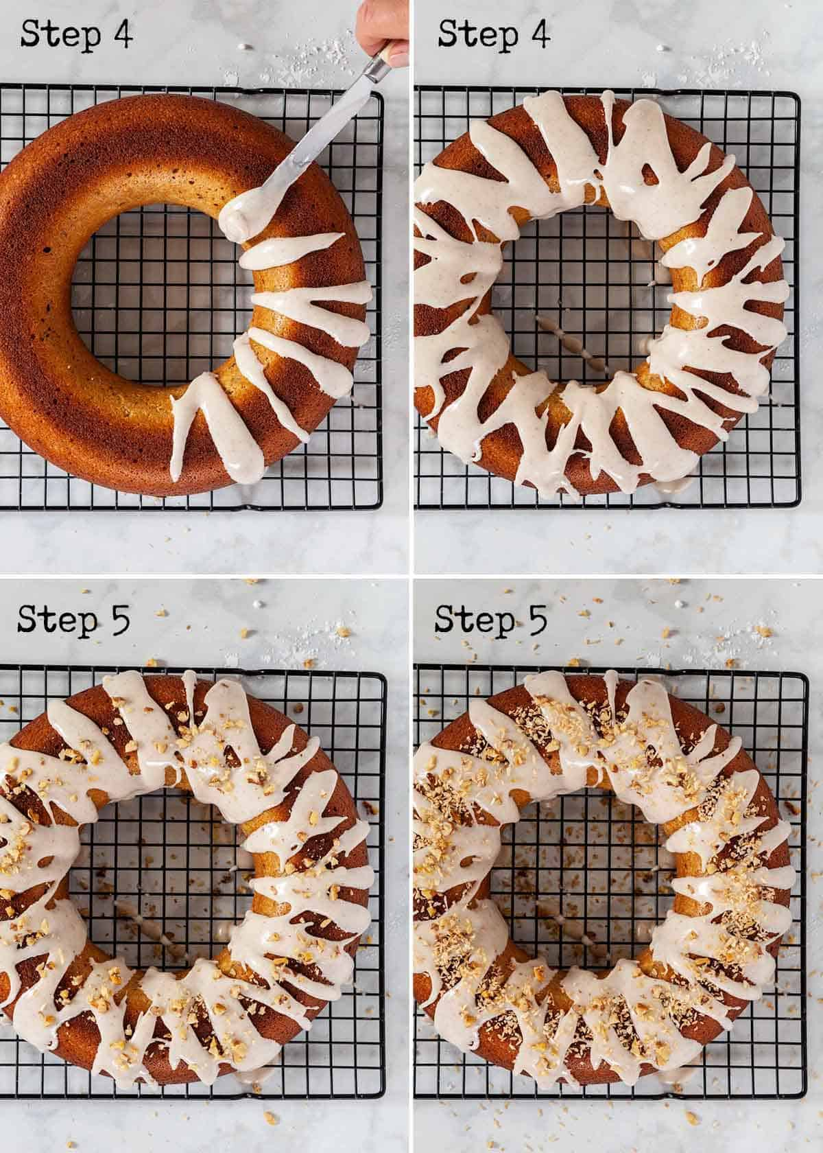 Collage of stages of decorating a pumpkin cake with icing, nuts and coconut