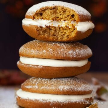 Close up of pumpkin whoopie pies - featured image.