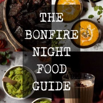 Collage of traditional food for bonfire night with text overlay