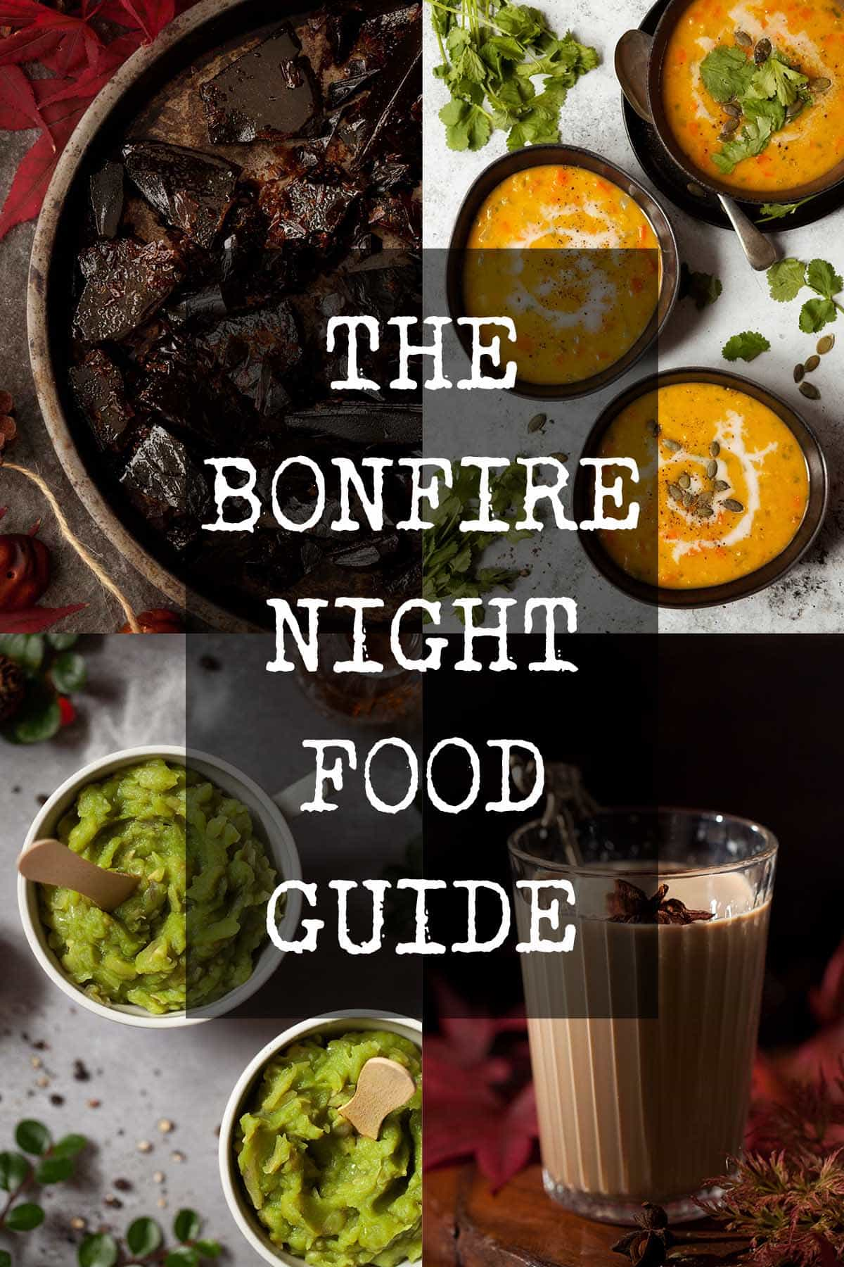 Collage of food for Bonfire Night parties with text overlay
