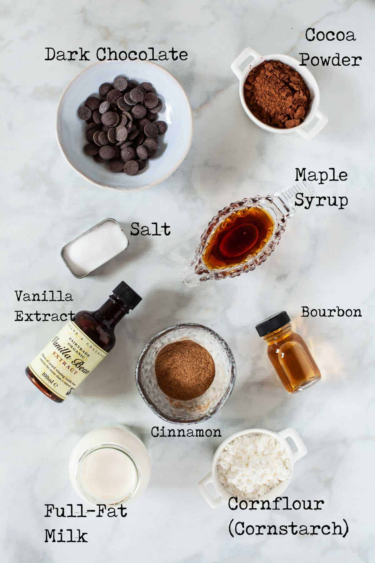 Ingredients for Bourbon Hot Chocolate with text overlay