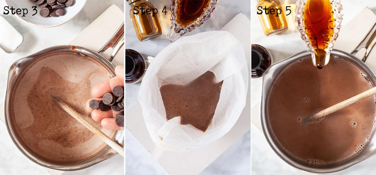 Heating chocolate drink and straining it through a nut bag
