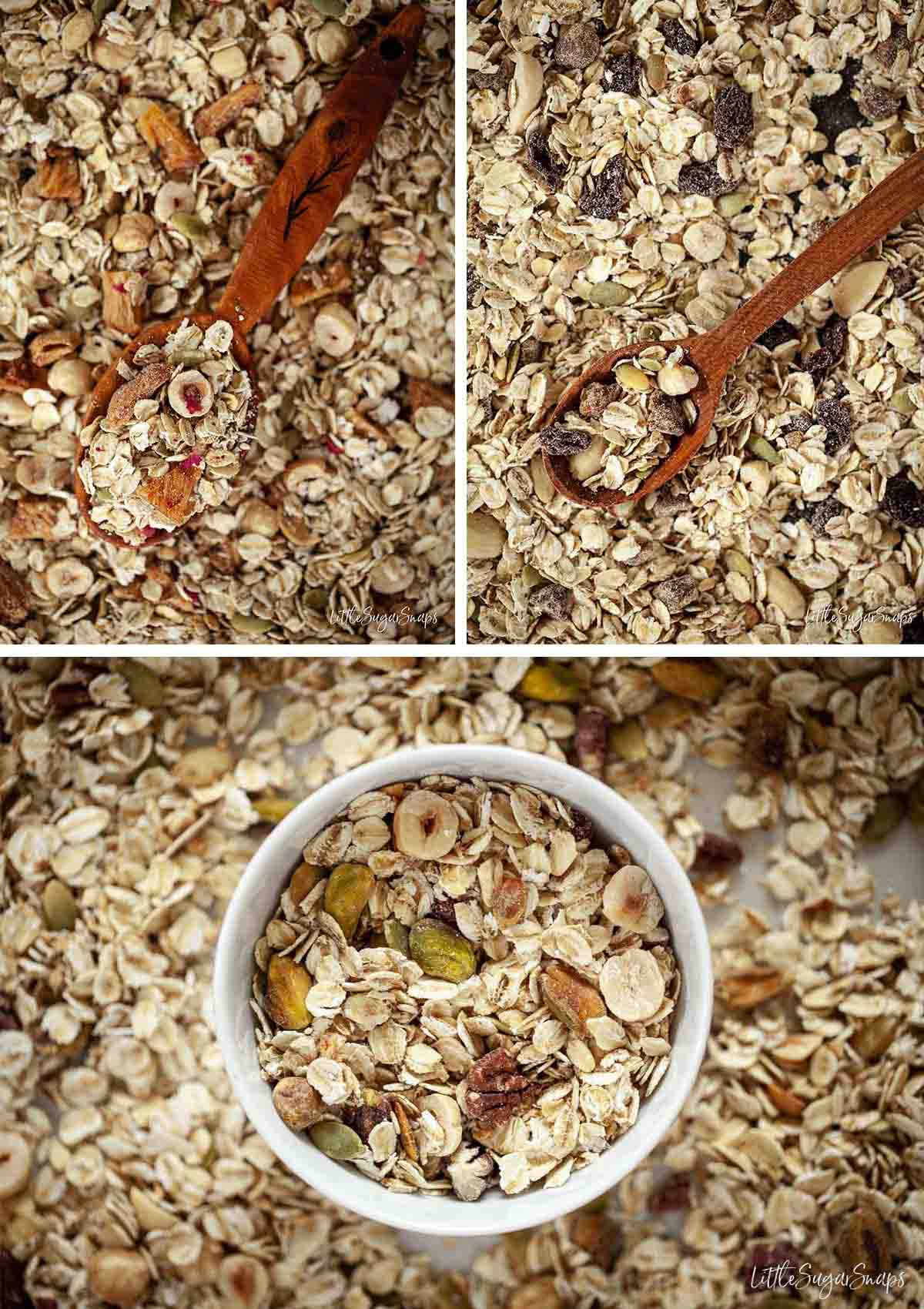 Collage showing three types of homemade muesli