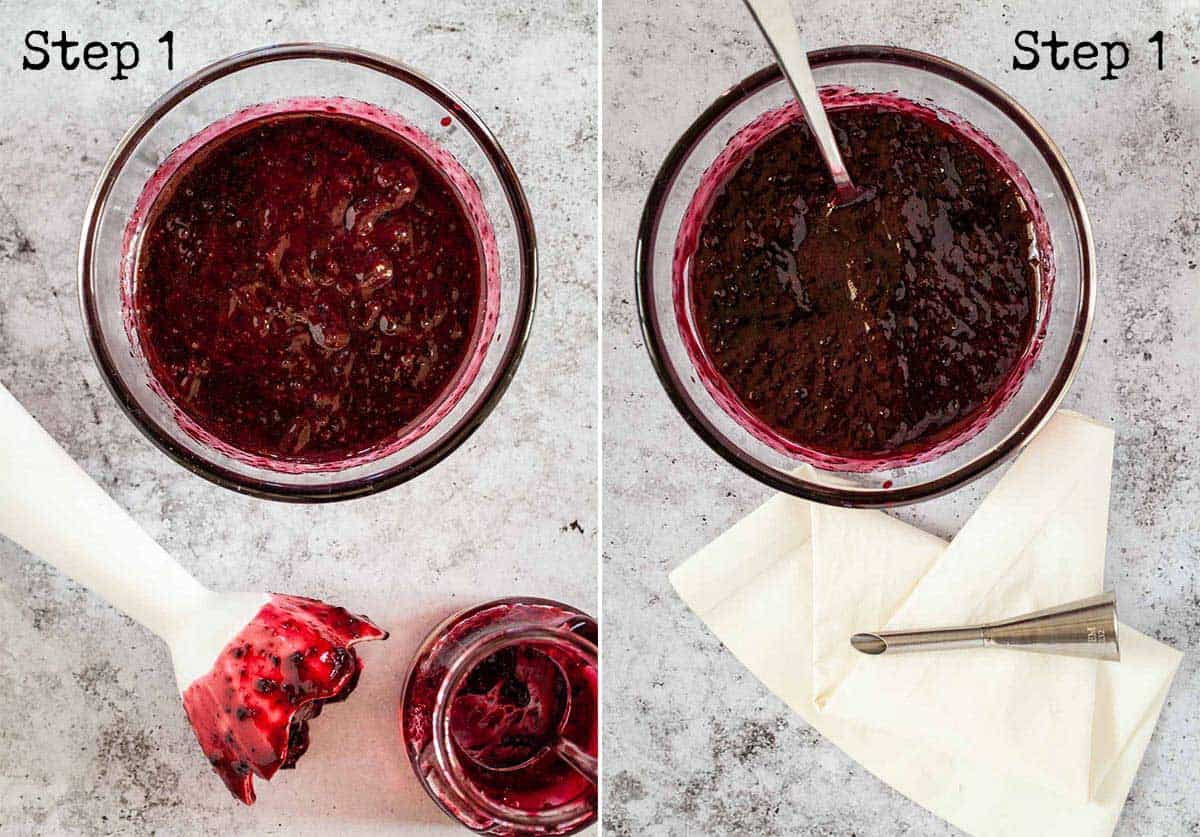 Collage of jam being pureed with a stick blender ready for putting into a piping bag