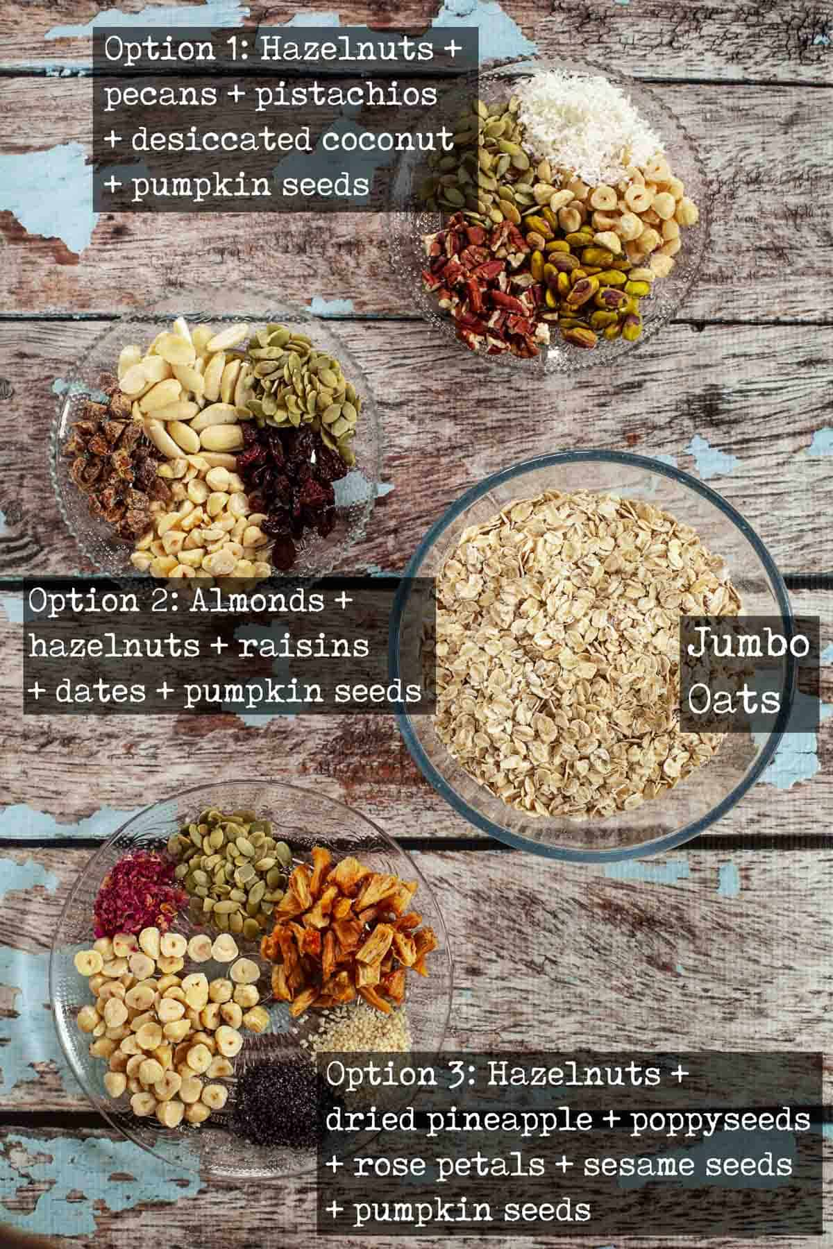 Ingredients for muesli in bowls labelled with text overlay