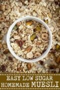 Nut and seed muesli with text overlay