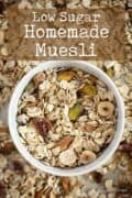 Nut and seed muesli in a bowl with text overlay