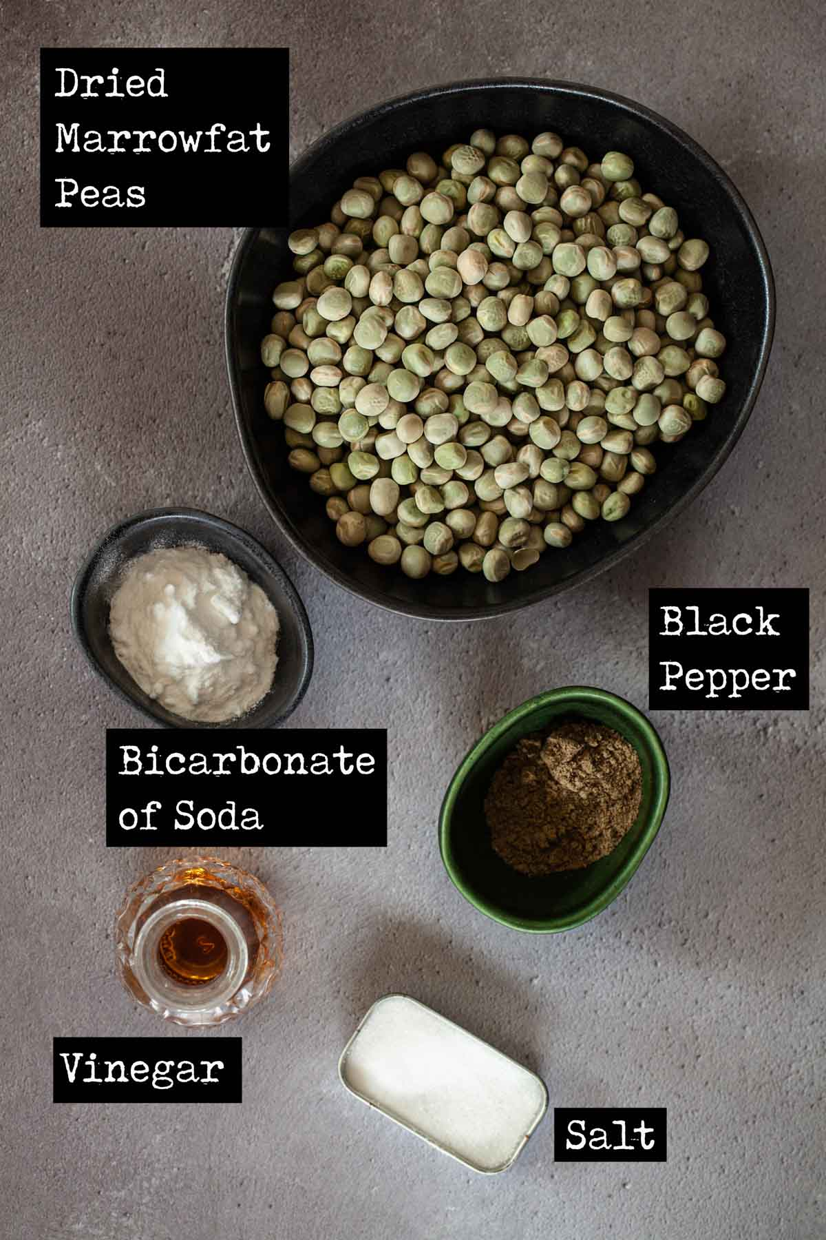 Dried marrowfat peas and other ingredients in bowls