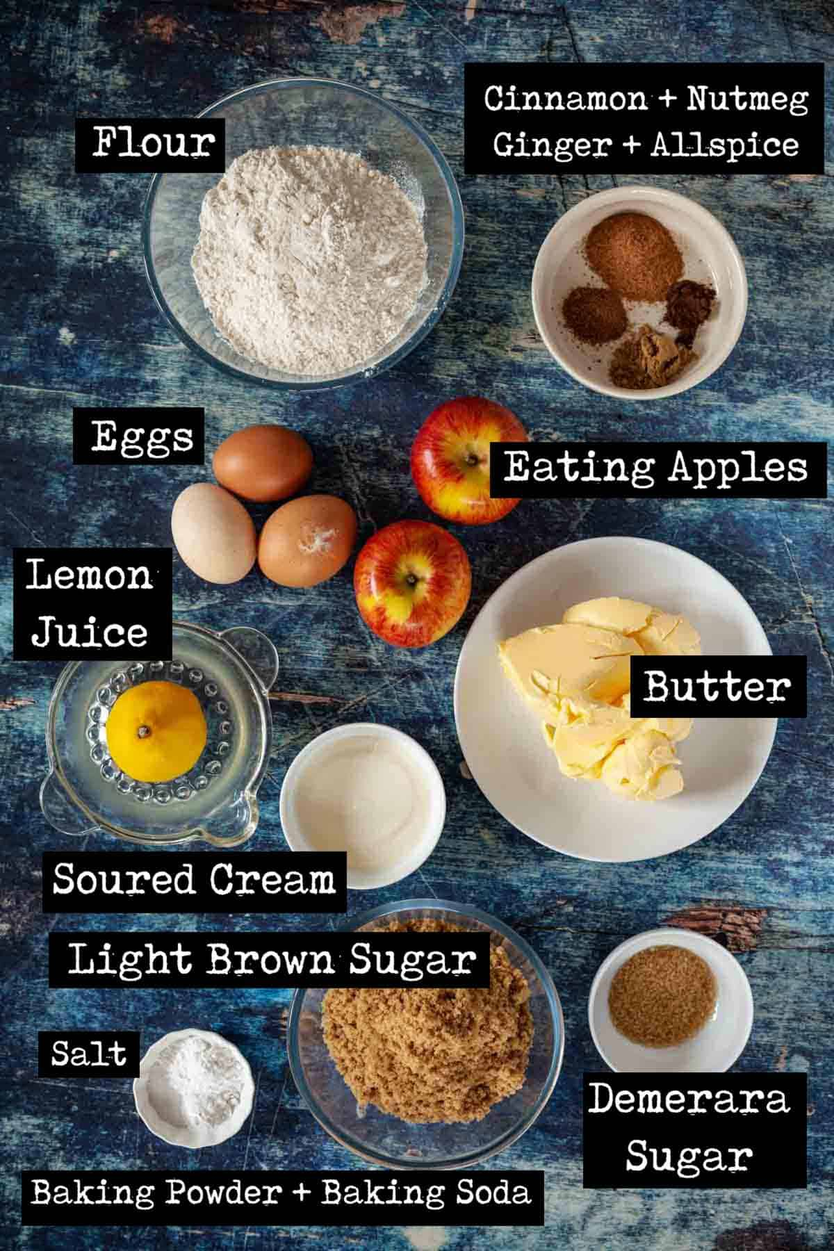 Ingredients for a fruity cake with text overlay.