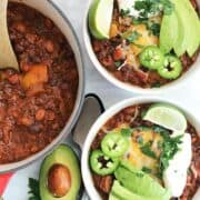Ground beef chilli in bowls