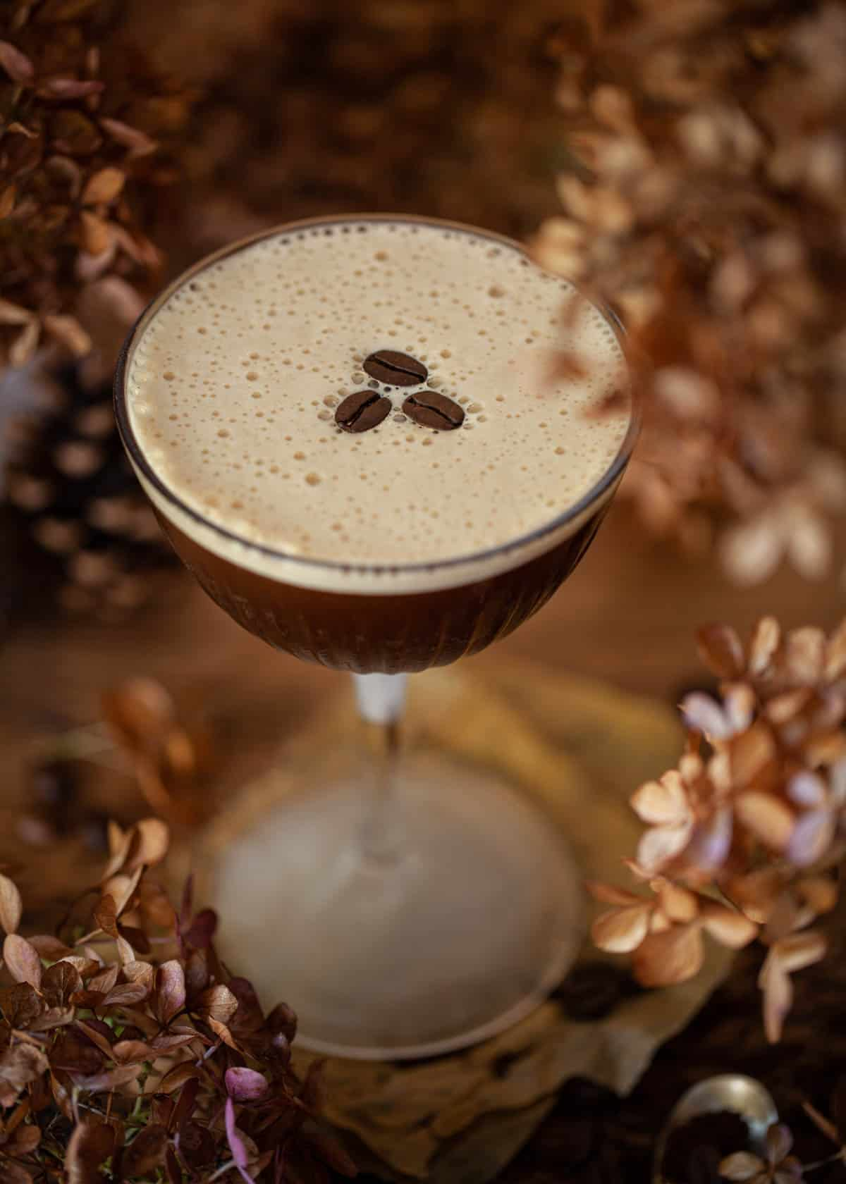 An espresso coffee martini Ancho Reyes Cocktail