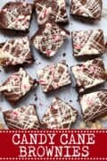 Picture of candy cane brownies with text overlay