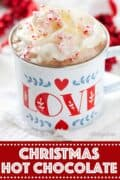Christmas hot chocolate with text overlay