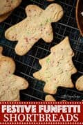 festive shaped funfetti shortbread cookies with text overlay