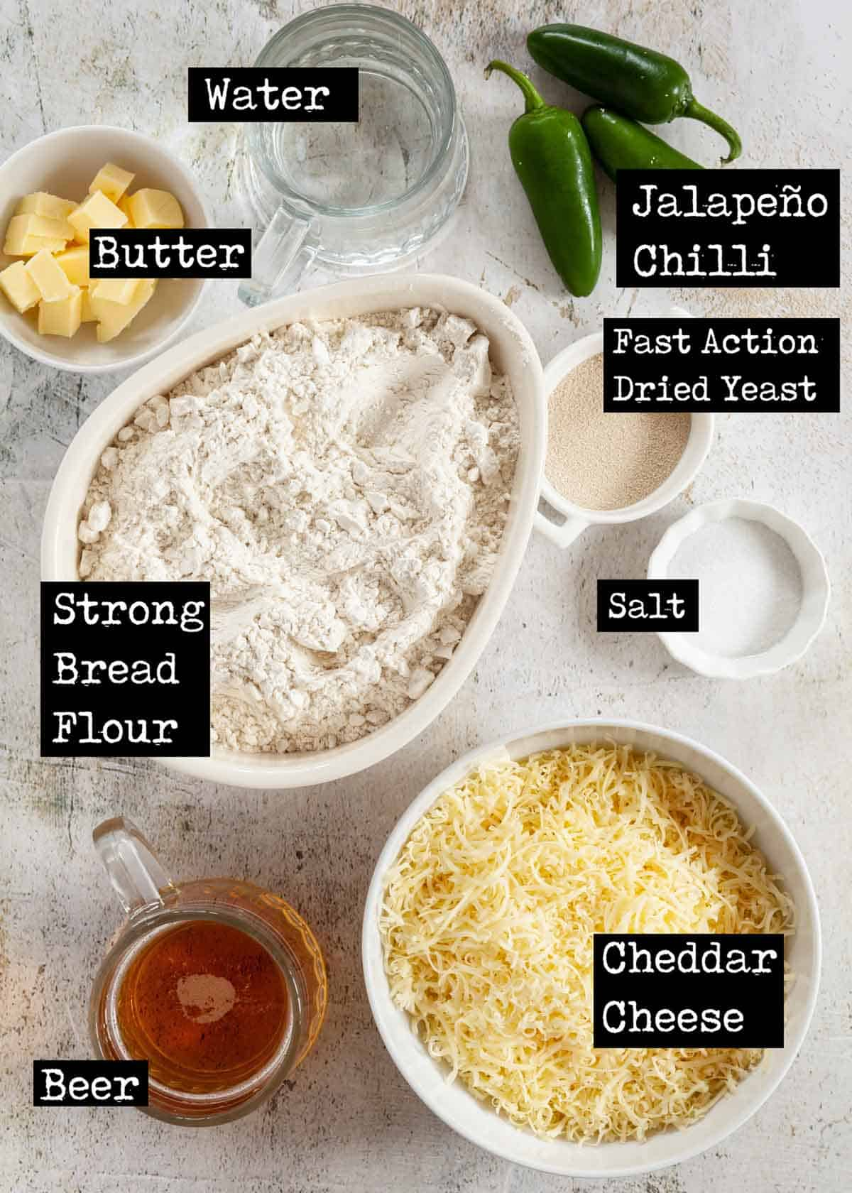 Ingredients for jalapeño cheese bread with text overlay