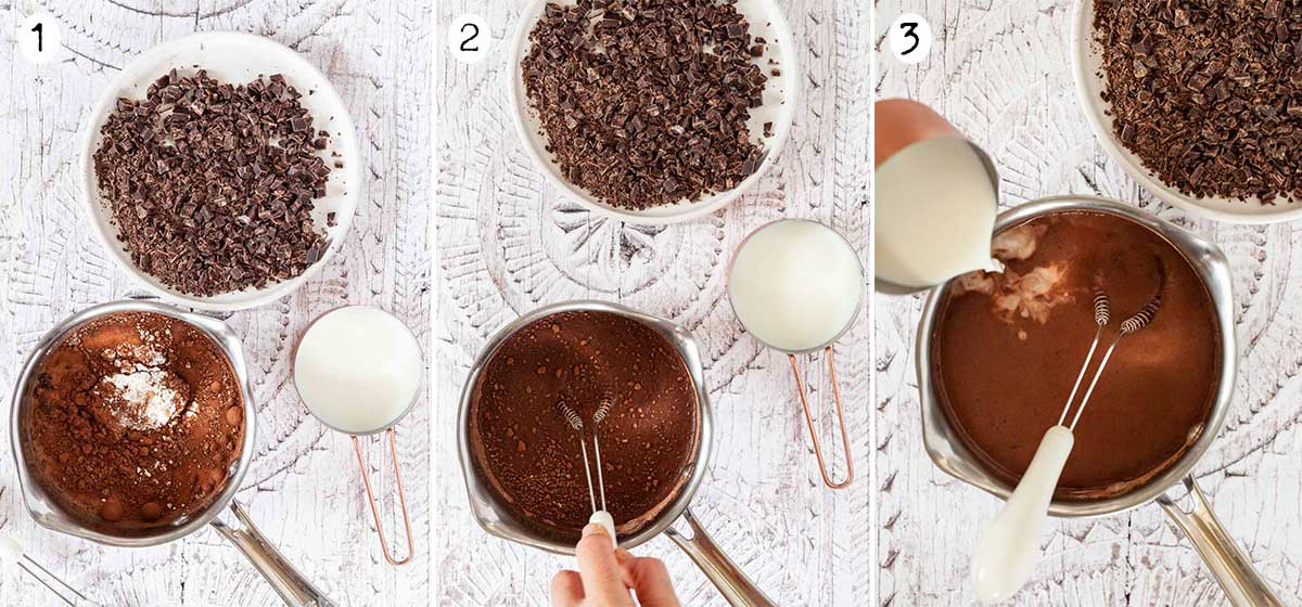 Collage of process images for making Cioccolata calda